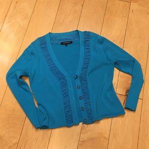 Nanette Lepore blue crop cardigan 2